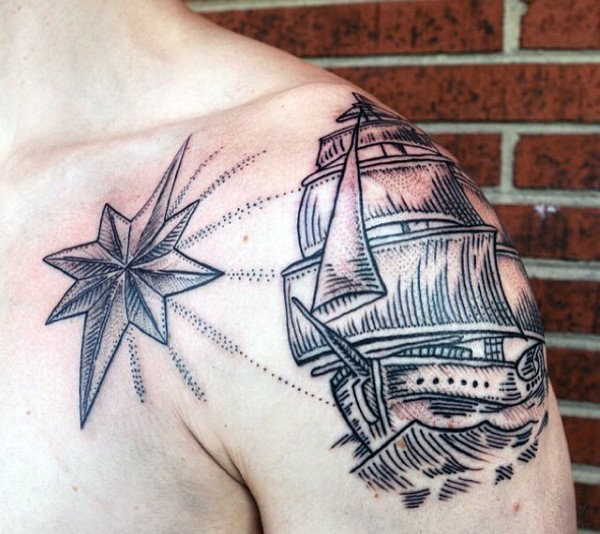 Dotwork Mens Nautical Star Med Seilskip Arm Og Brösttattoo