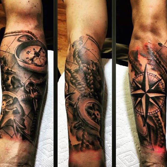 Herre Nautical Themed Star Underarm Sleeve Tatoveringer