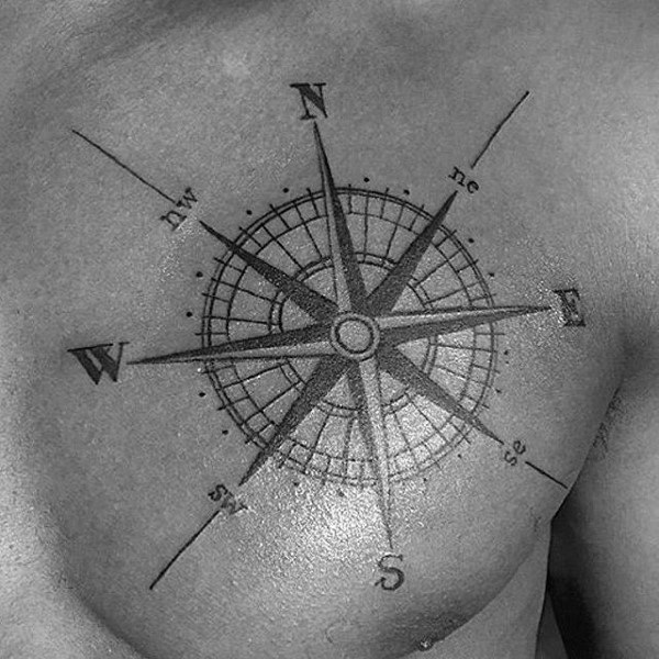 North East South og West Nautical Star Mens Bröst Tattoo