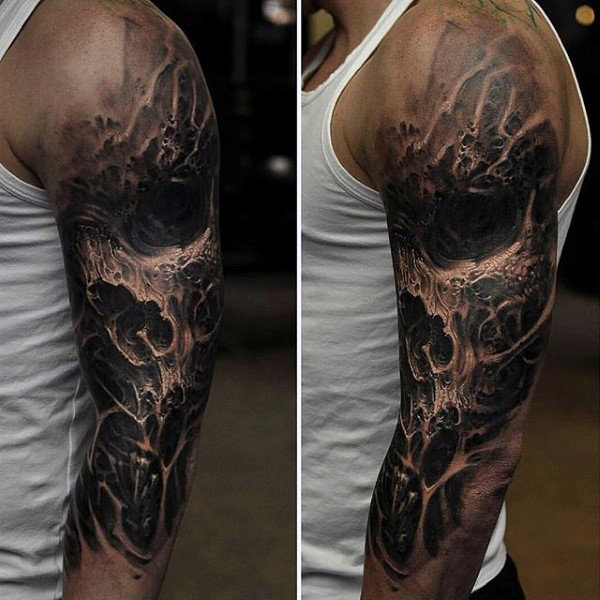 Awesome 3d Black Ink Skull Mens Separuh Lengan Tatu