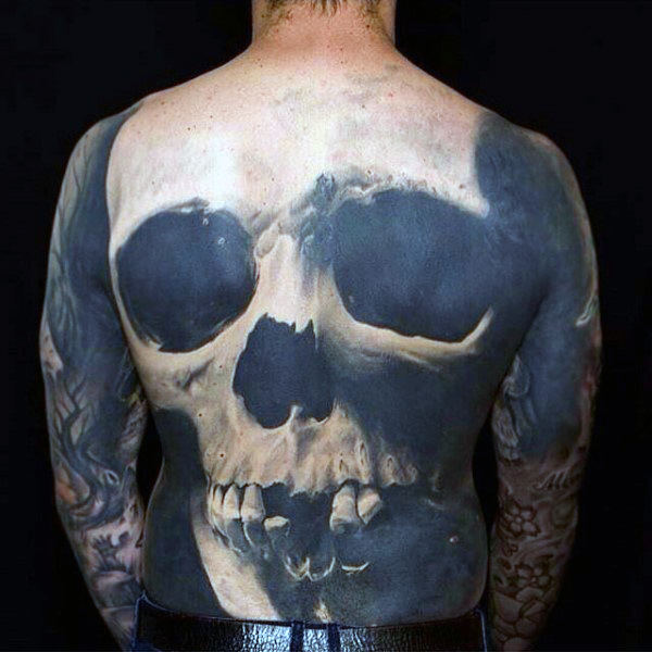 Black Ink Space Negative 3d Skull Back Male Tatu