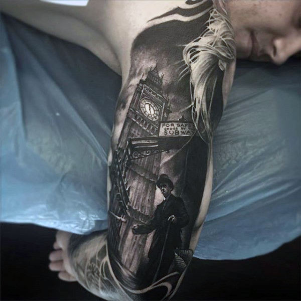 London Tower Clock Black Ink Mens Arm Tattoo Dengan Design Realistic