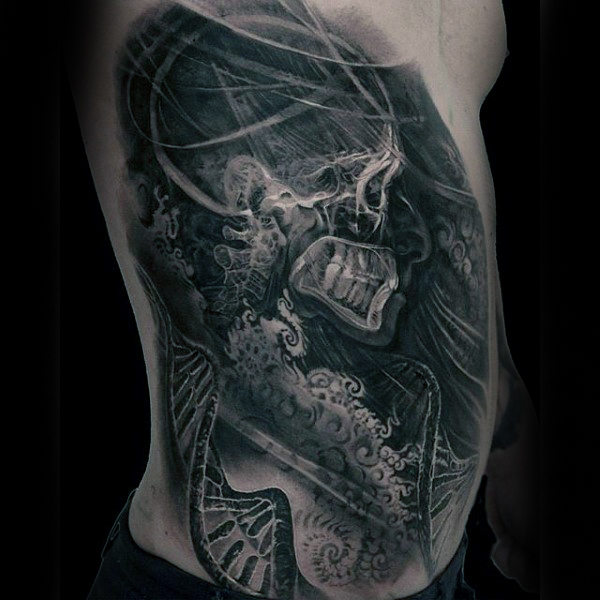Mens X Ray Skleton Dengan Dna Helix Strands Black Ink Ribs Tatu