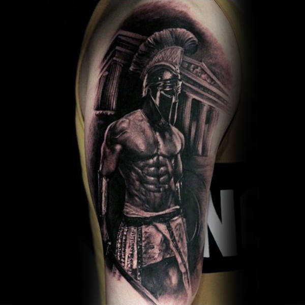 Roman Warrior Spartan Black Ink Upper Lengan Lelaki Tattoos