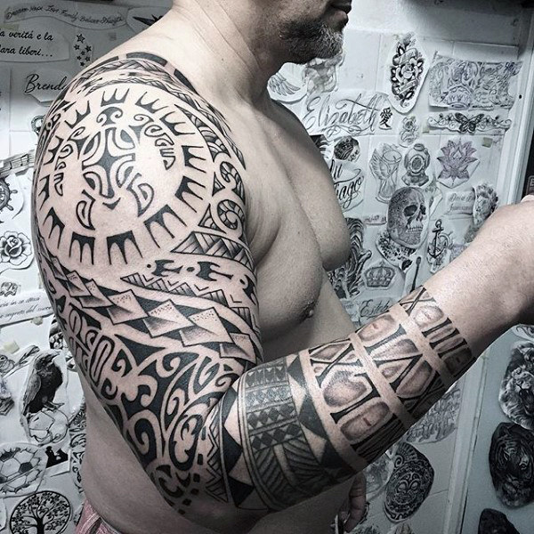 Tribal Mens Black Ink Turtle Idea Lengan Tatu Penuh