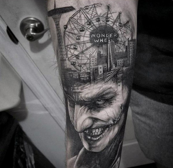 City Skyline With Joker Mens Inner Forearm Tattoos