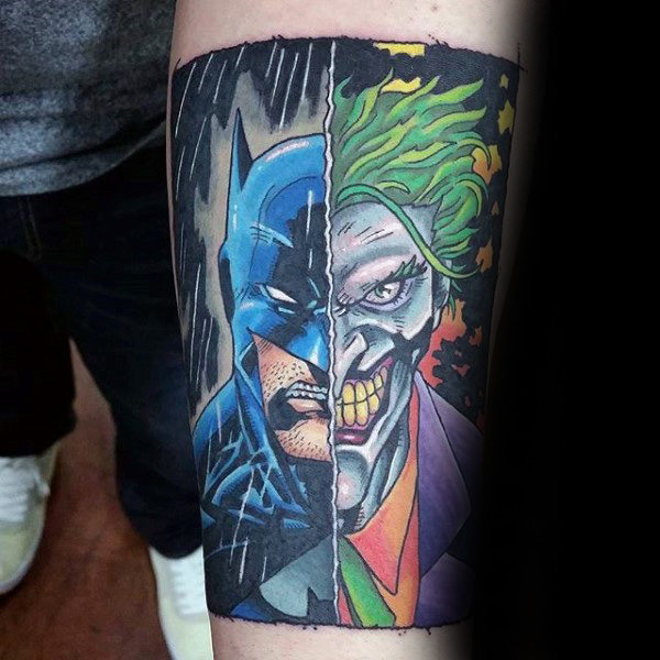 Dc Comics Mens Joker And Batman Inner Forearm Tattoo
