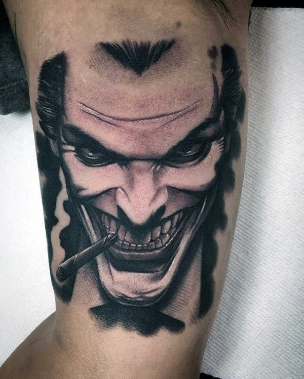 Guys Joker Inner Arm Bicep Tattoos