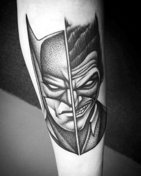Pół Joker Half Batman Mens Inner Forearm Shaded Tattoos