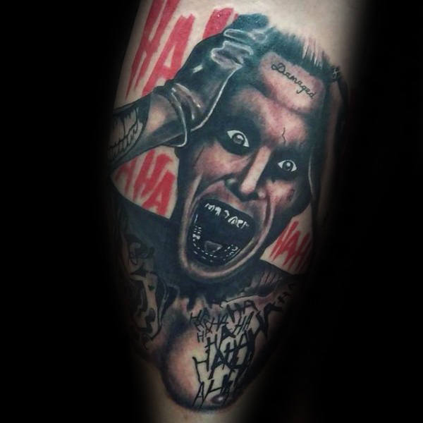 Insane Joker Mens Leg Tattoos
