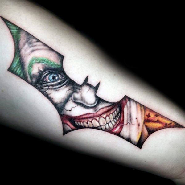Joker Inside Batman Symbol Faceci Outer Forearm Tattoos