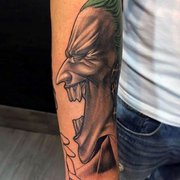 Laughing Joker Guys Forearm Tattoo Ideas