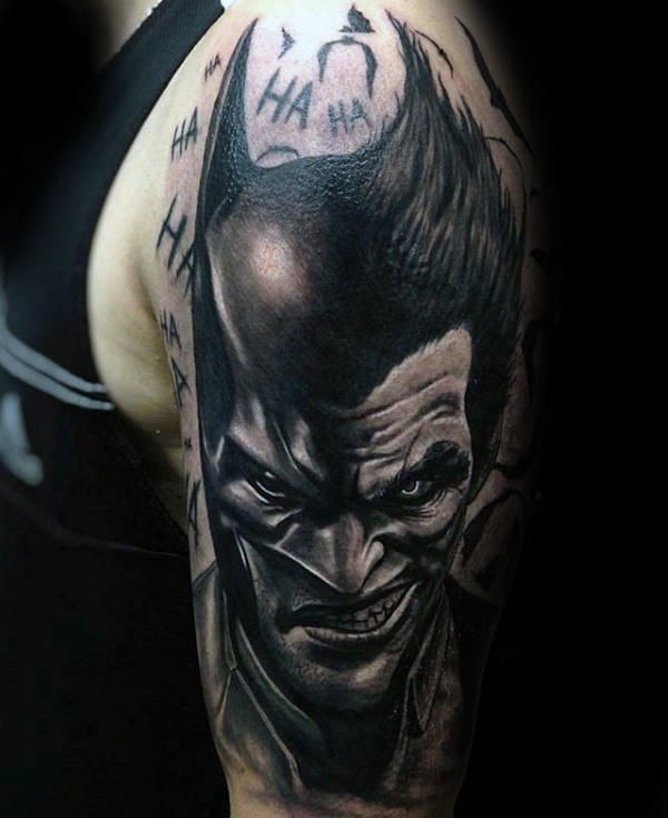 Manly Guys Joker Shaded Arm Tattoo Ideas
