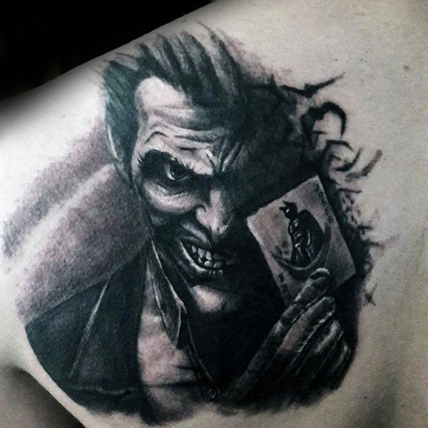 Męscy faceci Joker Upper Back Shaded Tattoo Ideas