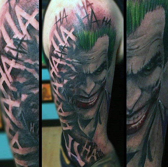 Negative Space Laughing Mens Joker Arm Tattoos