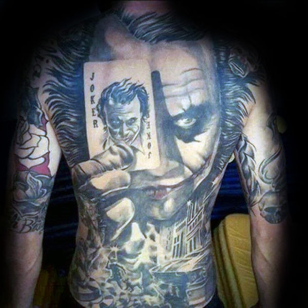 Amazing Shaded Joker Mens Full Back Tattoo Inspiration