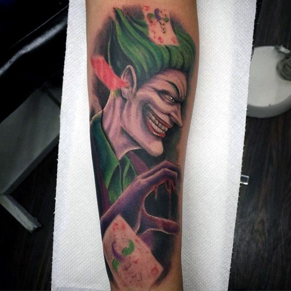 Retro Guys Joker Forearm Tattoo Ideas