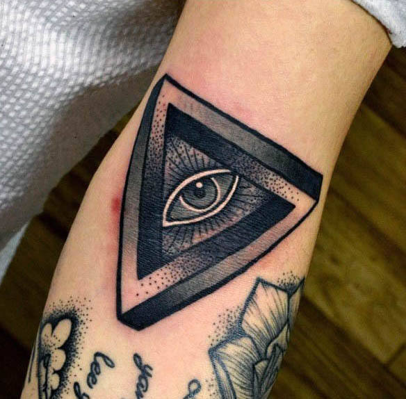 Små Triangle Masonic Alle Se Eye Tattoo Arms