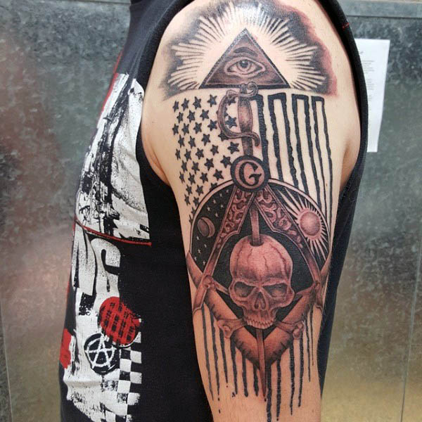 American Flag Masonic Themed Arm Tattoo On Male