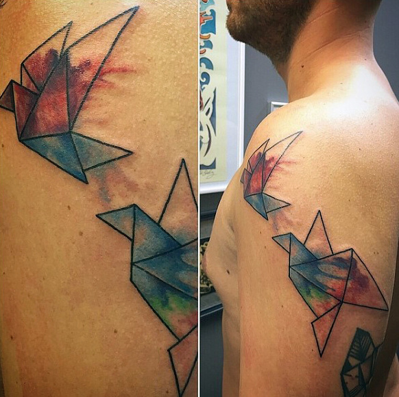 Origami Tattoo Armour สีน้ำเงิน