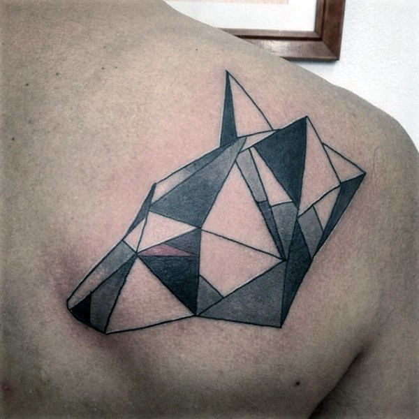 Origami Wolf Mens Shoulder Tattoo รูปทรงเรขาคณิต