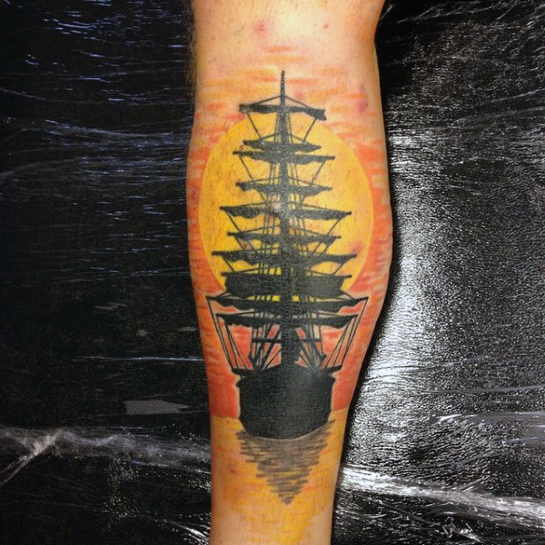 Mens Carrick Ship Sailing At Sunset Polp Tattoo