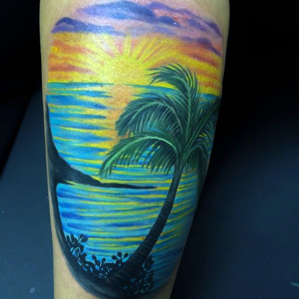 Mens moderna Palm Beach a Sunet Tattoo On Avambraccio