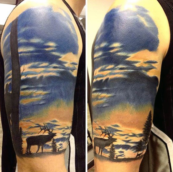 Mens Upperarm Moose At Winter Sunset Tattoo