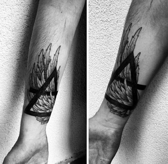 Tattoo Triangle Dark Bold Over Feathers On Arms For Guys