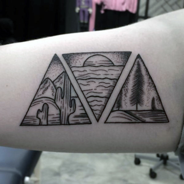 Nature Three Tattoo Triangles Based On Arms