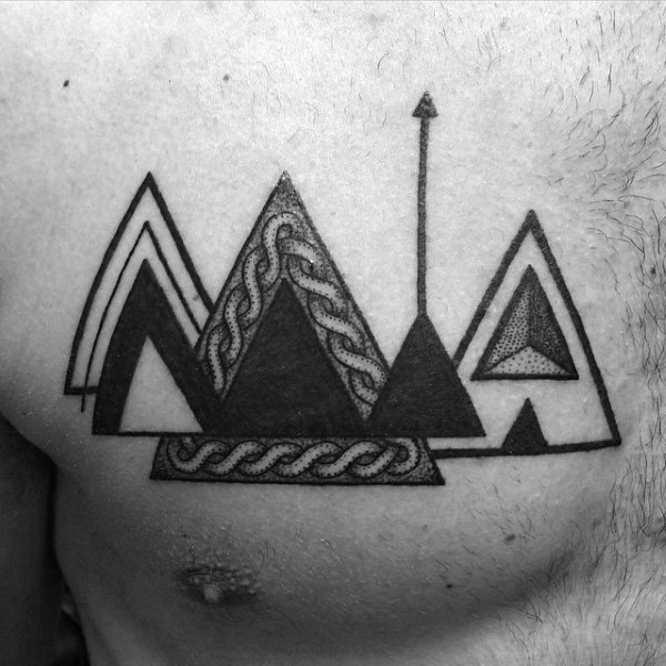 Black And White Triangle Wth Arrow Tattoo On Dada For Guys