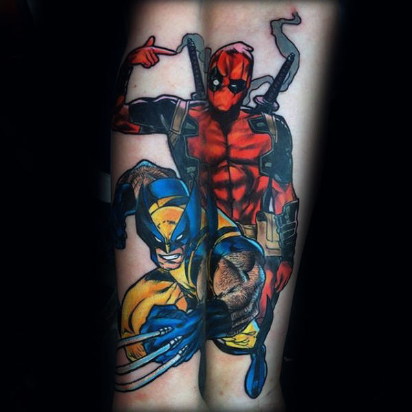 Wolverine עם Deadpool Superhero Mens זרוע קעקועים