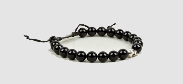 Paul Smith Black Beaded Skull Men's Bracelet