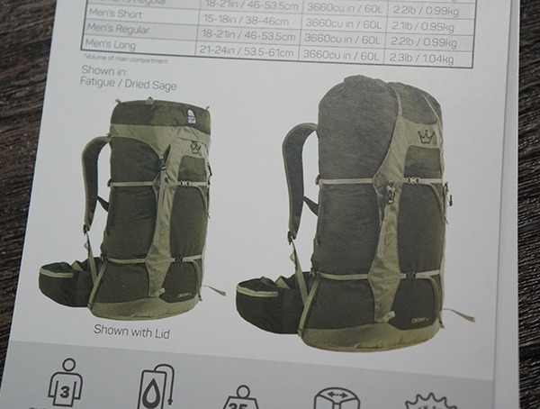 Granite Gear Crown2 60 Pack With And Without Lid