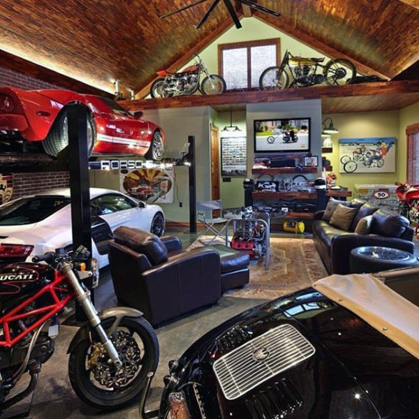 Cool Lounge Dream Garage Dengan Motocycles And Automobiles Vintage