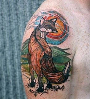 Amazing Fox Tattoo Male Arms