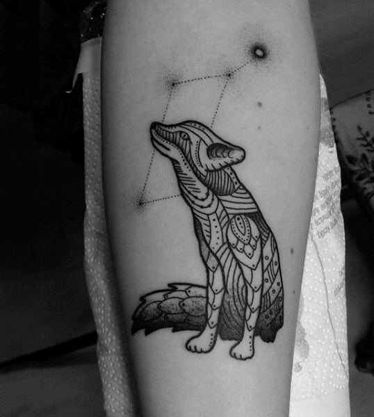 Retro Fox And Constellation Tattoo Mens Forearms
