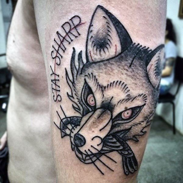 Sharp Stroked Black Fox Tattoo Male Upperarms