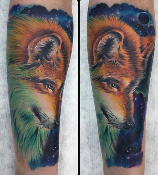 Sly Fox With Night Sky Tattoo Mens Forearms