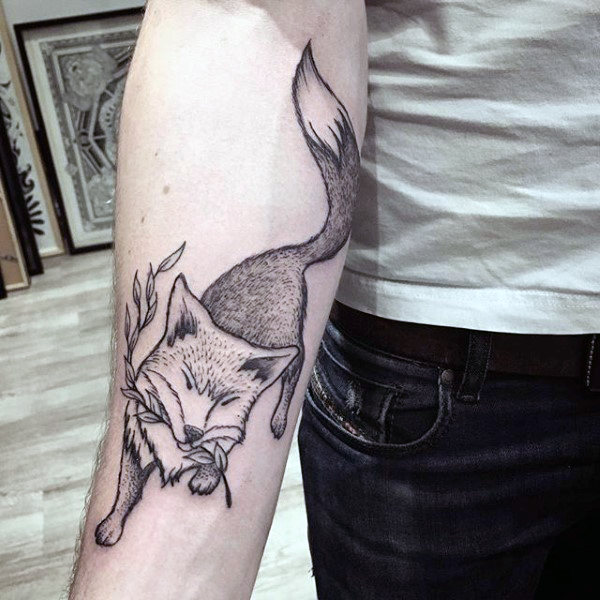 Sly Fox With Twig Tattoo Forearms Lelaki