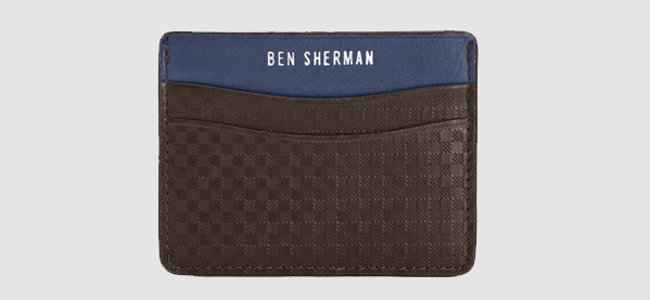Ben Sherman Gingham Men's Business Card Holder