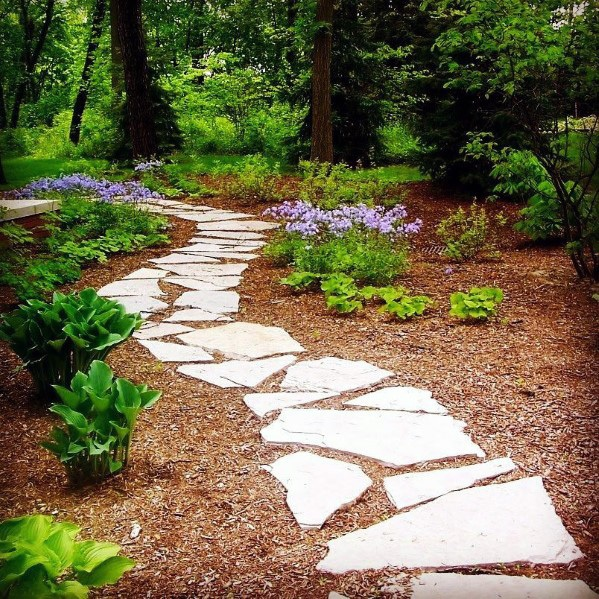 Designs ao ar livre Flagstone Walkway Stepping Stones Backyard