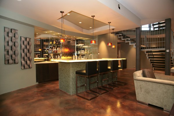 Modern Basement Home Bar-ontwerp