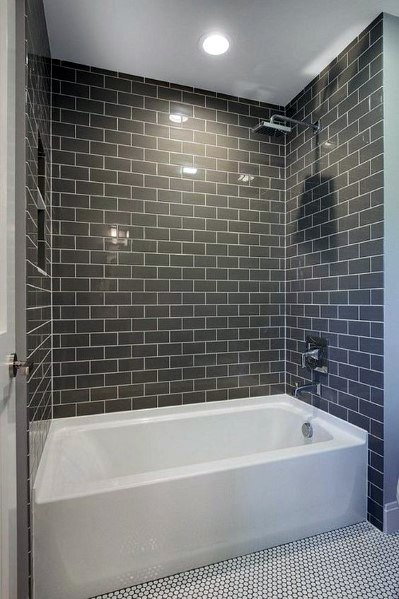 Gray Subway Bathtub Tile Ideas