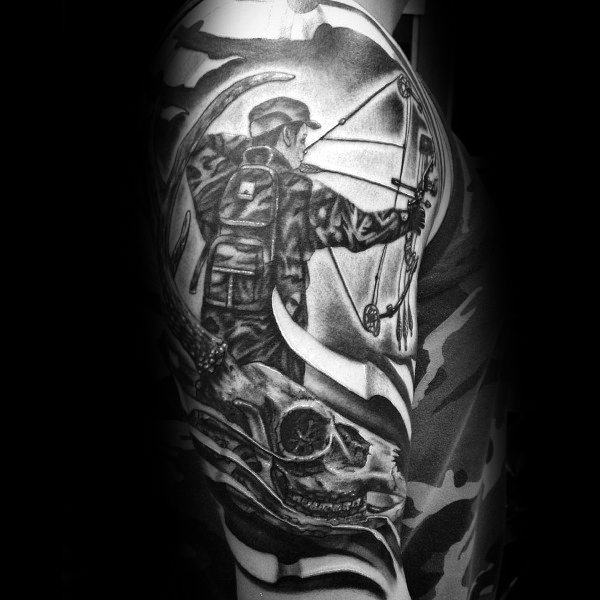 Bowhunting Mens Meia Manga Tattoo Designs