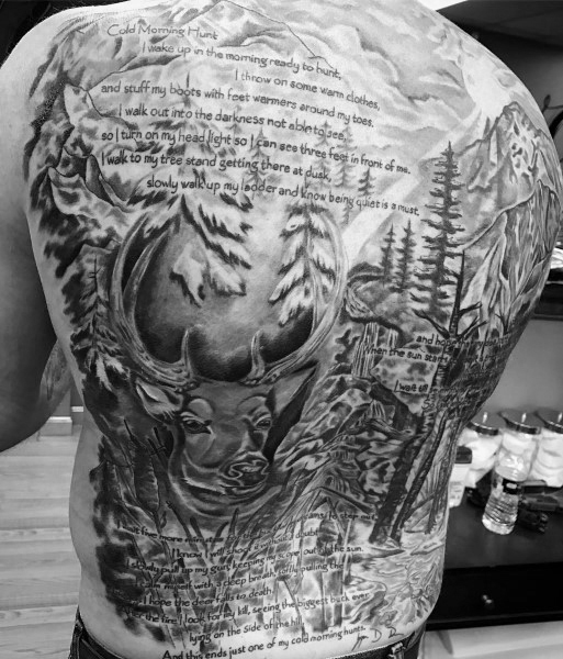 Full Back Quote Bowhunting Mens Tatuagens