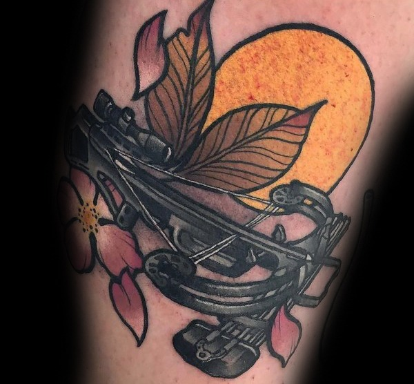 Mens Crossbow Leaf Com Sun Bowhunting Tattoo Designs