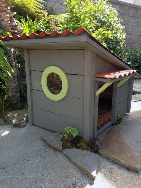 Grey Painted Cool Dog House Idea Inspiration