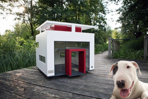 Pomysły Modern Red And White Glass Dog House