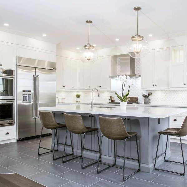 White Kitchen Stone Backsplash Idėjos